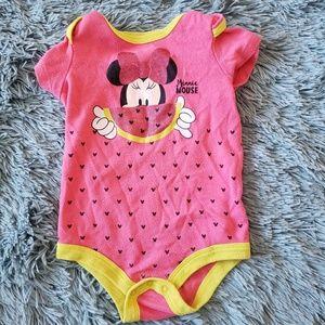 Girls Minnie Mouse Pink Onesie